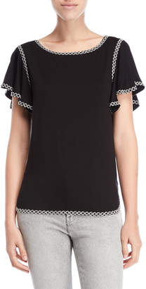 Max Studio Flutter Sleeve Embroidered Tee