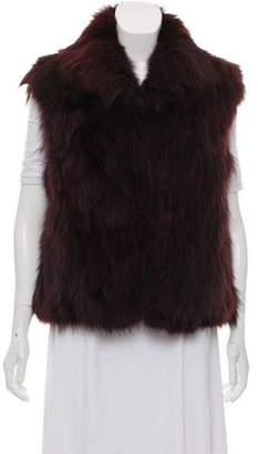 Adrienne Landau Fox Fur Collared Vest