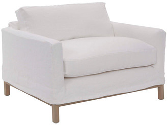 At One Kings Lane Dufton Slipcover Club Chair White Linen Community