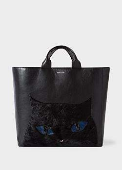 Paul Smith Women's Black Leather 'Cat' Tote Bag