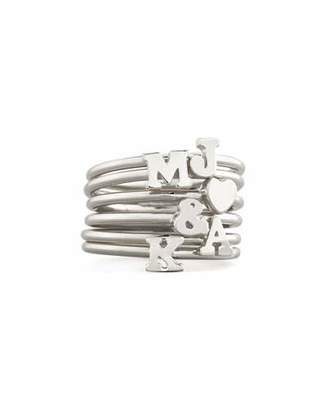 Sarah Chloe Silver Stackable Initial Ring