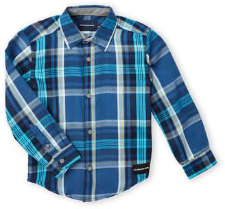 Calvin Klein Jeans Boys 4-7) Blue Plaid Long Sleeve Sport Shirt