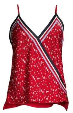 Bailey 44 Women's Tete-A-Tete Floral Sleeveless Scarf Top - Bright Red - Size XS