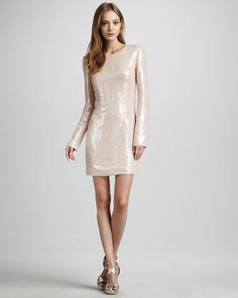 Diane von Furstenberg Menaro Sequined Long-Sleeve Dress