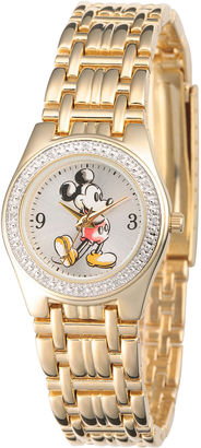 DISNEY Disney Womens Gold-Tone Metal Alloy Strap Mickey Mouse Bracelet Watch $99.99 thestylecure.com