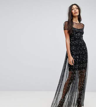 City Goddess Tall Overlay Chiffon Maxi Dress In Star Print
