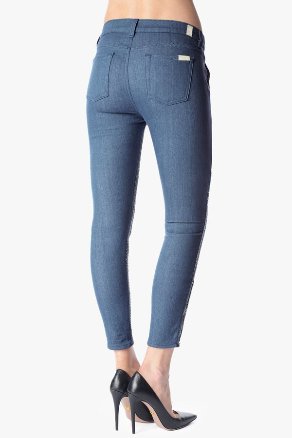 7 For All Mankind Malhia Kent: The Side Zip Pieced Skinny In Blue Silver Chevron