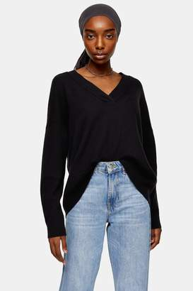 Topshop Knitted Black V Neck Jumper With Wool