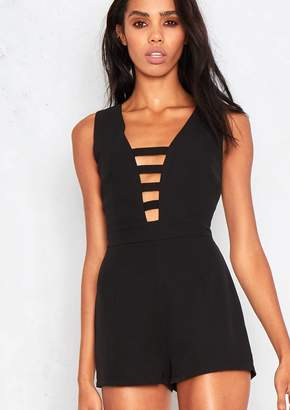 3ec4206a1ca2 at Missy Empire · Missy Empire Missyempire Clarity Black Cut Out Plunge  Playsuit