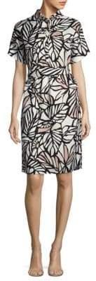 HUGO BOSS Holera Palm-Print Shirtdress