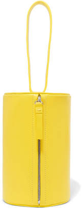 Building Block Cylinder Leather Clutch - Bright yellow