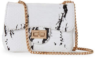 Popatu (Girls) White & Black Splatter Chain Bag