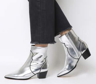 Office Arlo Western Boots Silver