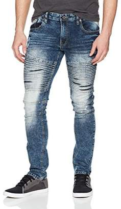 Southpole Men's Super Skinny Biker/Moto Denim Pants