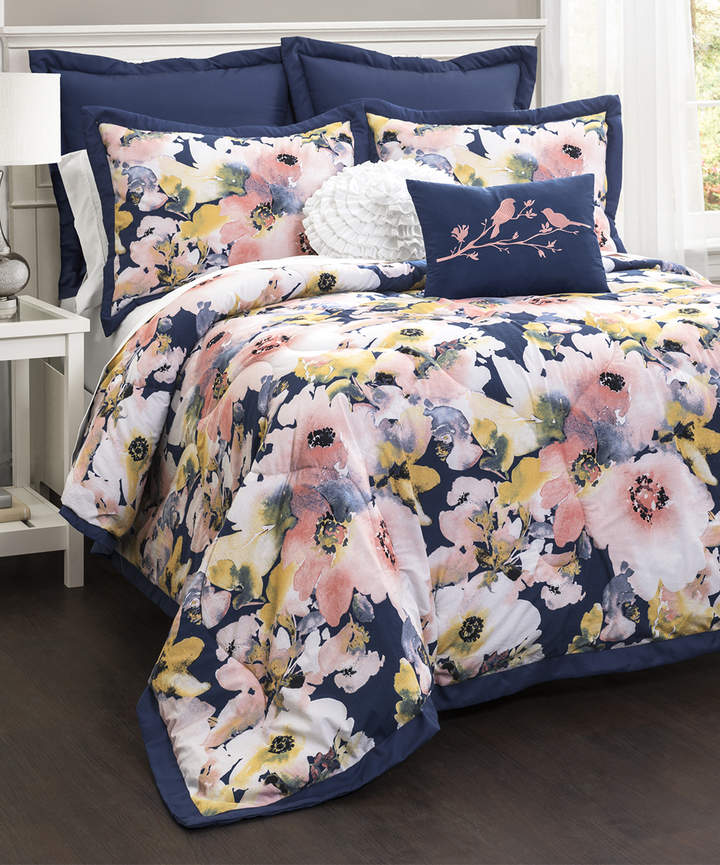Blue Floral Watercolor Five-Piece Comforter Set