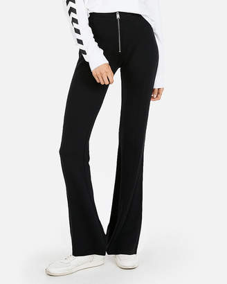 Express High Waisted Zip Front Flared Track Pant