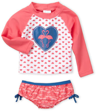 Kiko & Max (Infant Girls) Two-Piece Flamingo Rashguard & Bikini Bottom Set