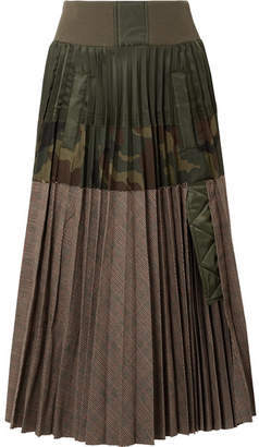 Sacai Pleated Shell And Printed Cotton-blend Midi Skirt - Army green