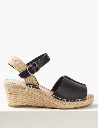 Marks and Spencer Wide Fit Leather Wedge Heel Espadrilles