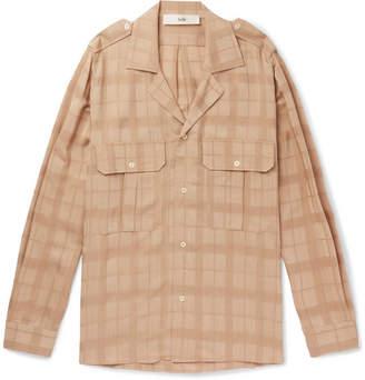 Séfr - Jack Camp-collar Checked Woven Shirt - Tan
