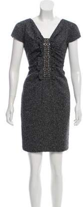 Valentino Ruched Tweed Dress Grey Ruched Tweed Dress