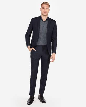 Express Extra Slim Dark Navy Check Wool Suit Pant