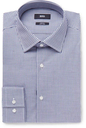 HUGO BOSS Jenno Navy Gingham Cotton Shirt - Navy