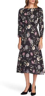 Vince Camuto Windsor Floral Long Sleeve Midi Dress