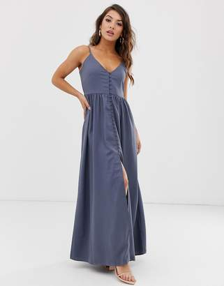 25656167 NA-KD Na Kd button up v-neck maxi dress in grey