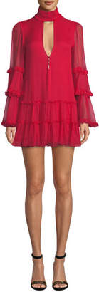 Alexis Naoko High-Neck Ruffle Mini Dress