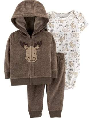 Carter's Child of Mine by Hooded Cardigan, Short Sleeve Bodysuit & Pants, 3-Piece Outfit Set (Baby Boys)