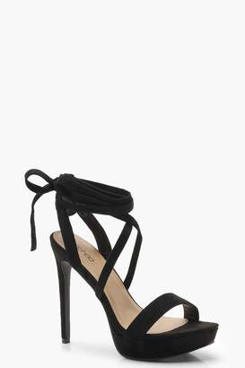 boohoo Wrap Platform Two Part Heels