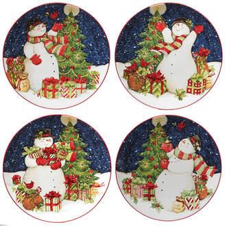 Certified International Starry Night Snowman 4-Pc. Dinner Plates asst.