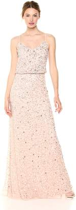 Adrianna Papell Women's Beaded Long Dress with Blouson