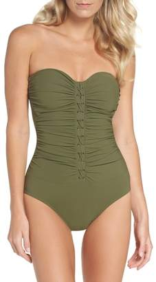 Gottex Profile By Lace-Up Strapless One-Piece Swimsuit