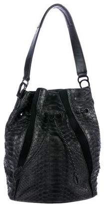 Khirma Eliazov Leather-Trimmed Python Shoulder Bag