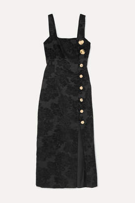 Mother of Pearl Malia Button-embellished Floral-jacquard Midi Dress - Black