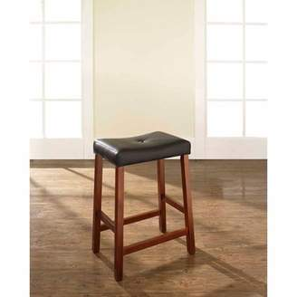 """Crosley Generic Furniture Upholstered Saddle Seat Bar Stool with 24"""" Seat Height, 2pk"""
