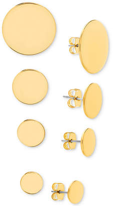 Steve Madden Gold-Tone 4-Pc. Set Circle Stud Earrings
