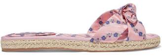 Tabitha Simmons Heli Bow-embellished Floral-jacquard Espadrille Slides - Pink