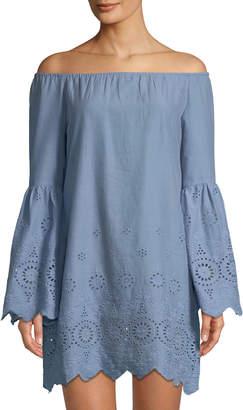 Glamorous Bardot Cotton Eyelet Off-Shoulder Dress