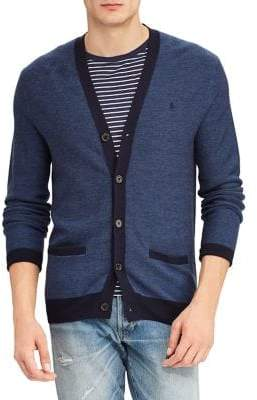 Polo Ralph Lauren Men's Wool Blend Button Cardigan - Blue - Size XL