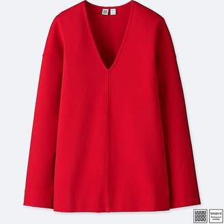 Uniqlo Women's U Ponte V-Neck Long-sleeve Pullover