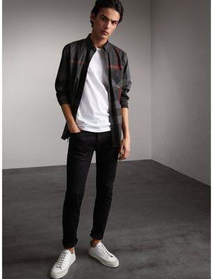 Burberry Button-down Collar Check Stretch Cotton Blend Shirt $295 thestylecure.com