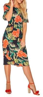 Dorothy Perkins Tropical-Print Off-the-Shoulder Midi Dress