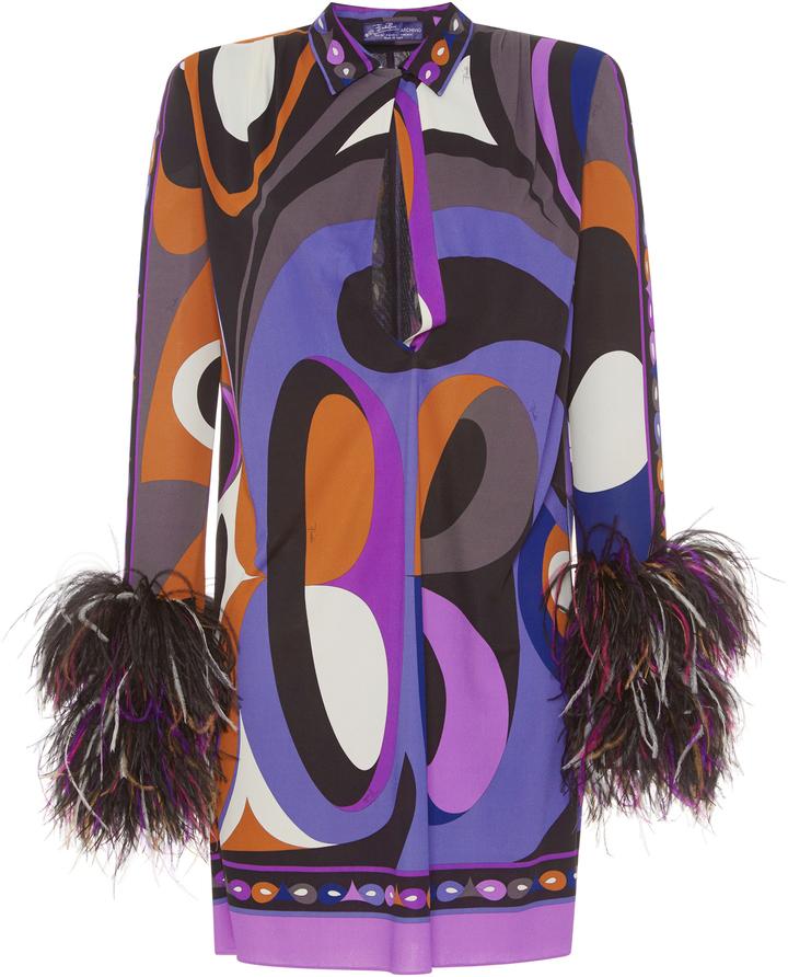 Emilio Pucci Feather Cuff Jersey Mini Dress