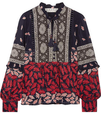 SEA - Eloise Ruffled Printed Silk Crepe De Chine Blouse - Navy $345 thestylecure.com