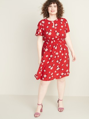 Old Navy Waist-Defined Flutter-Sleeve Plus-Size Dress