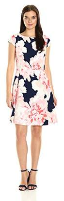 Sandra Darren Women's 1 Pc Cap Sleeve Crepe Printed Fit and Flare Dress