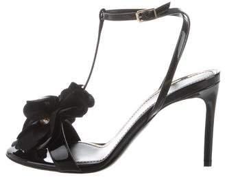 Lanvin Floral-Embellished T-Strap Sandals w/ Tags
